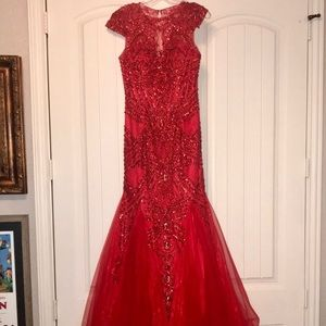 Sherri Hill Dresses - Red, beaded, Sherri Hill gown